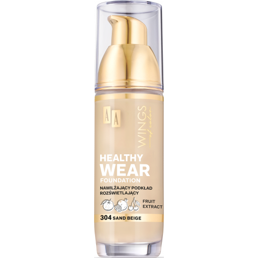 AA WINGS OF COLOR Healthy Wear Foundation Podkład Nawilżający 304 Sand Beige 35 ml