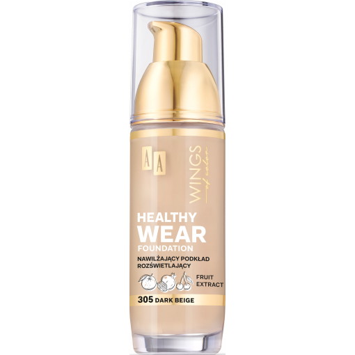 AA WINGS OF COLOR Healthy Wear Foundation Podkład Nawilżający 305 Dark Beige 35 ml