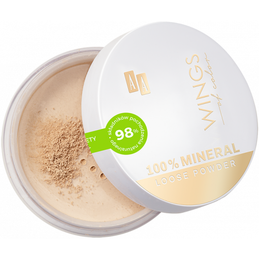 AA WINGS OF COLOR 100% Pure Mineral Loose Powder Puder Sypki Mineralny Idealnie Kryjący 10 Vanilla 8g