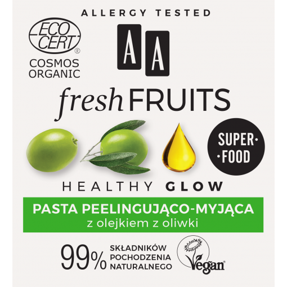 AA FRESH FRUITS pasta peelingująco-myjąca z olejkiem z oliwki ORGANIC 50 ml