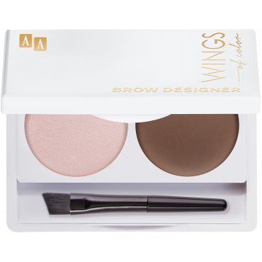 AA WINGS OF COLOR Brow Designer Eyebrow Wax And Highlighter Duo Set Koloryzujący Wosk Do Brwi I Rozświetlacz 10 Brown 2,2g