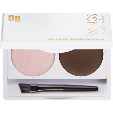 AA WINGS OF COLOR Brow Designer Eyebrow Wax And Highlighter Duo Set Koloryzujący Wosk Do Brwi I Rozświetlacz 12 Brown Grey 2,2g