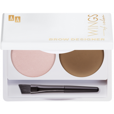 AA WINGS OF COLOR Brow Designer Eyebrow Wax And Highlighter Duo Set Koloryzujący Wosk Do Brwi I Rozświetlacz 13 Blond  2,2g