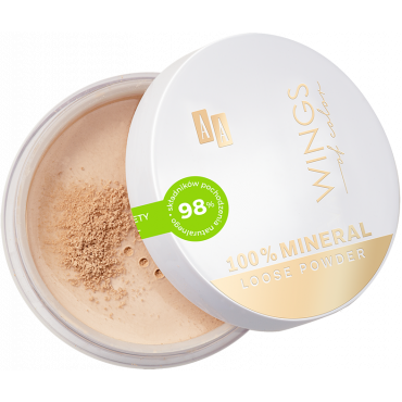 AA WINGS OF COLOR 100% Pure Mineral Loose Powder Puder Sypki Mineralny Idealnie Kryjący 11 Cream 8 g