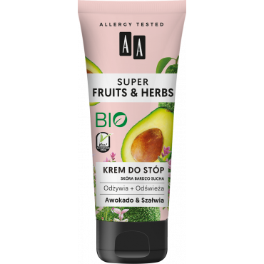 AA SUPER FRUITS&HERBS krem do stóp awokado&szałwia 75 ml