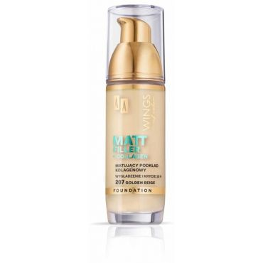 AA WINGS OF COLOR Matt Filler Foundation Matujący Podkład Kolagenowy 207 Golden Beige 35ml